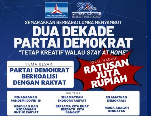 Lomba Dua Dekade Partai Demokrat. Foto: (Poster DPP Demokrat)